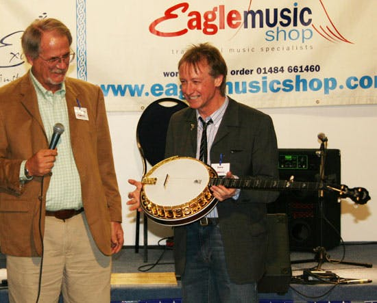 Steve Noon presented with Deering Eagle II banjo