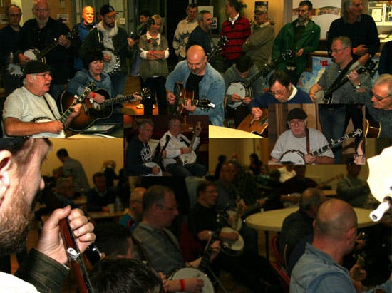 Joe Mac picking session at the Deering Banjos 40th anniversary celebration with Eagle Music Shop
