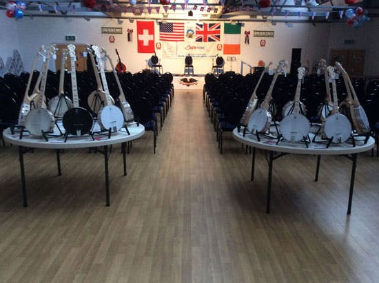 The Stage awaits for the Kruger Brothers, Greg, Janet and jamie Deering, JigJam, Dan Walsh, Pat Kelleher, James Allan, Graham Holt, Mjoe Mac at the Eagle Music banjo 10 event 2016