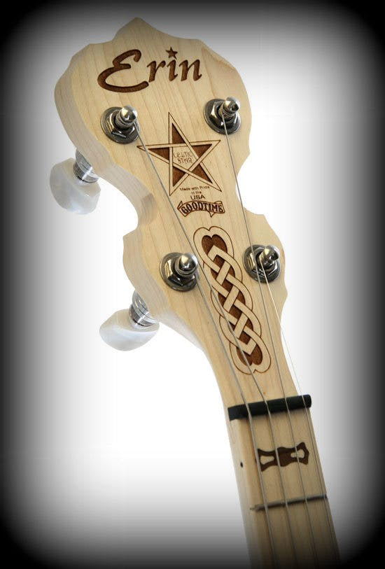 deering erin Irish tenor banjo headstock