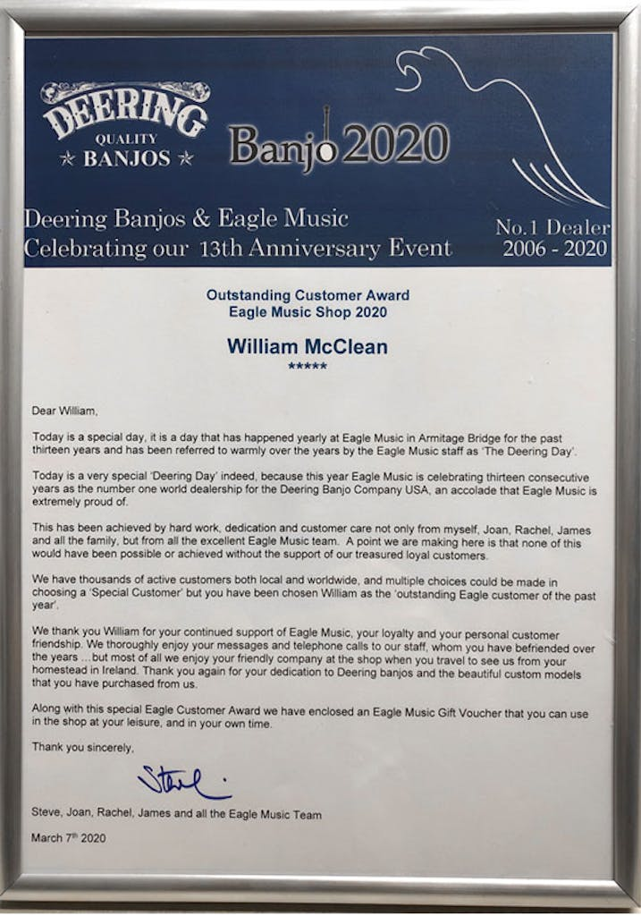 Wllaim McClean customer of the year Banjo 2020i
