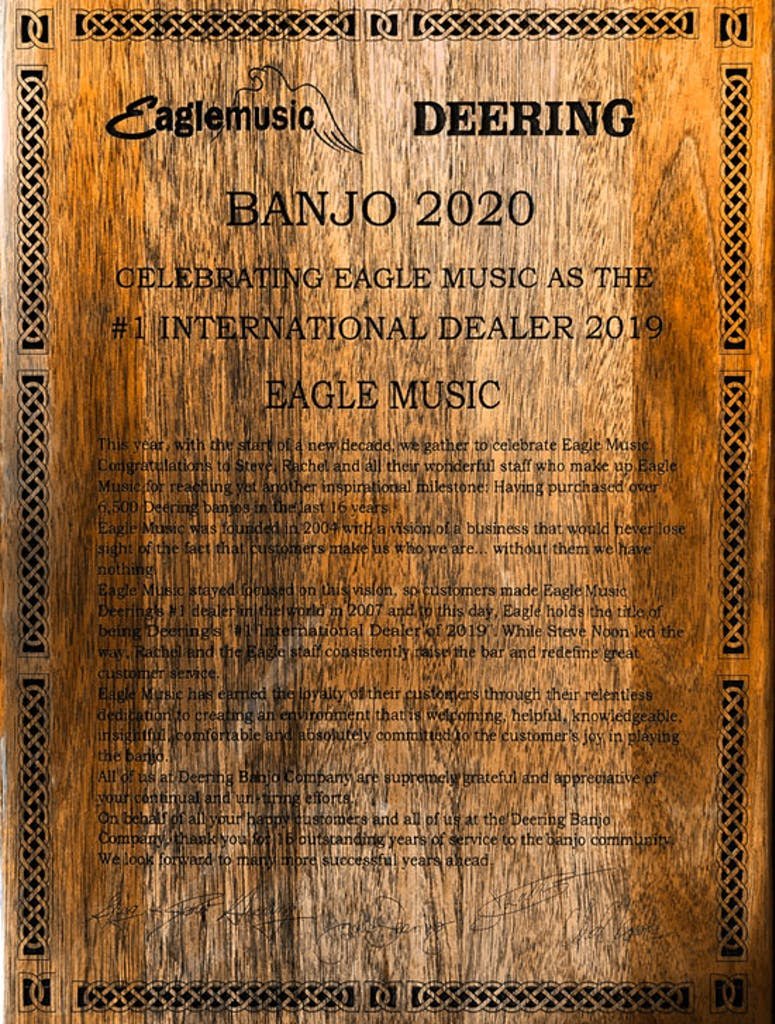 Deering award 13 Year plaque at banjo 2020 to Eagle Music