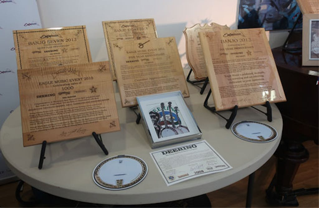 Plaques awarded to Eagle by Deering overthe years