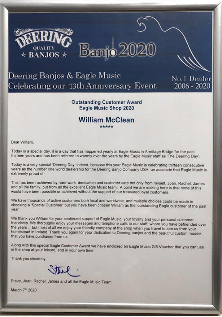 Wllaim McClean customer of the year Banjo 2020i