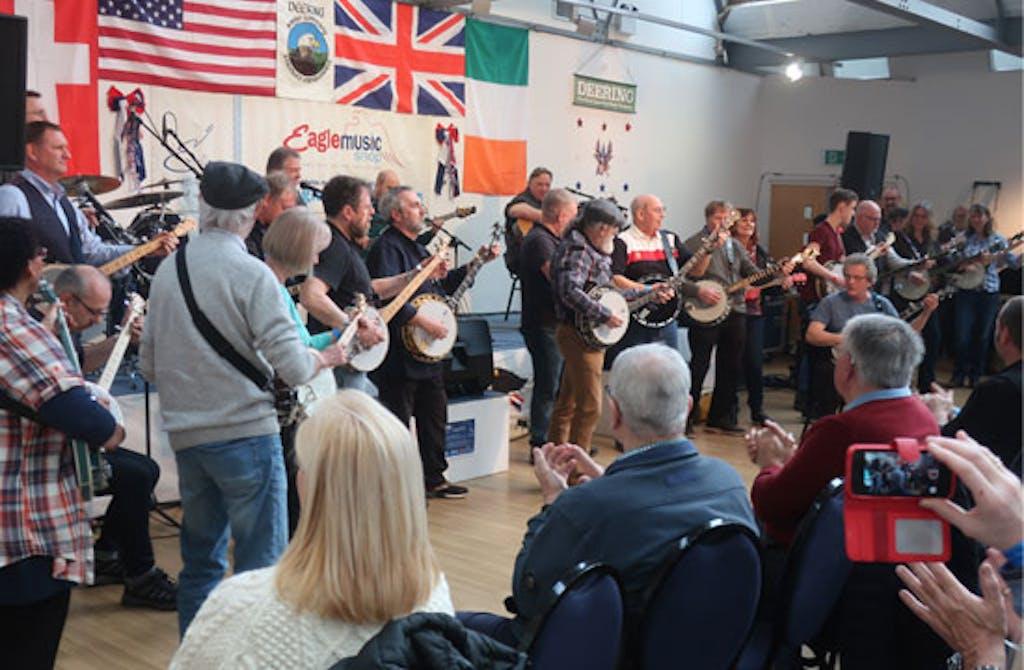 Group jam at Deering Eagle Music Banjo 2020